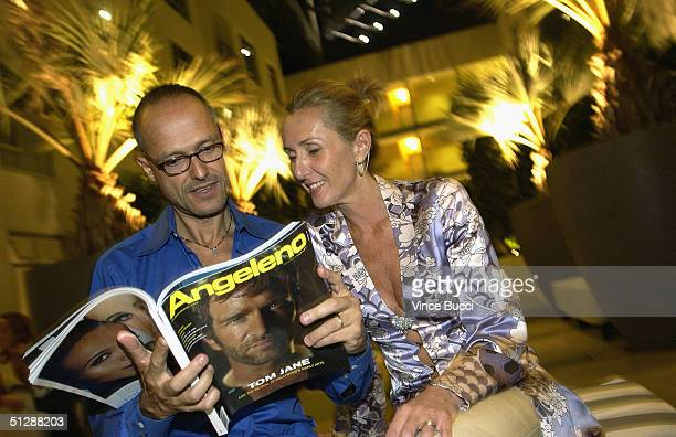 Daniel Vergara and Claudia Benvenuto attend the Fifth Anniversary Party for Angeleno Magazine on September 10 2004 at Sunset and Vine in Hollywood...