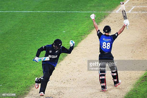 Daniel Vettori of New Zealand and Grant Elliott of New Zealand celebrate winning the 2015 Cricket World Cup Semi Final match between New Zealand and...