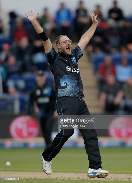 Daniel Vettori of New Zealand appeals for a wicket during the ICC Champions Trophy group A match between England and New Zealand at the SWALEC...