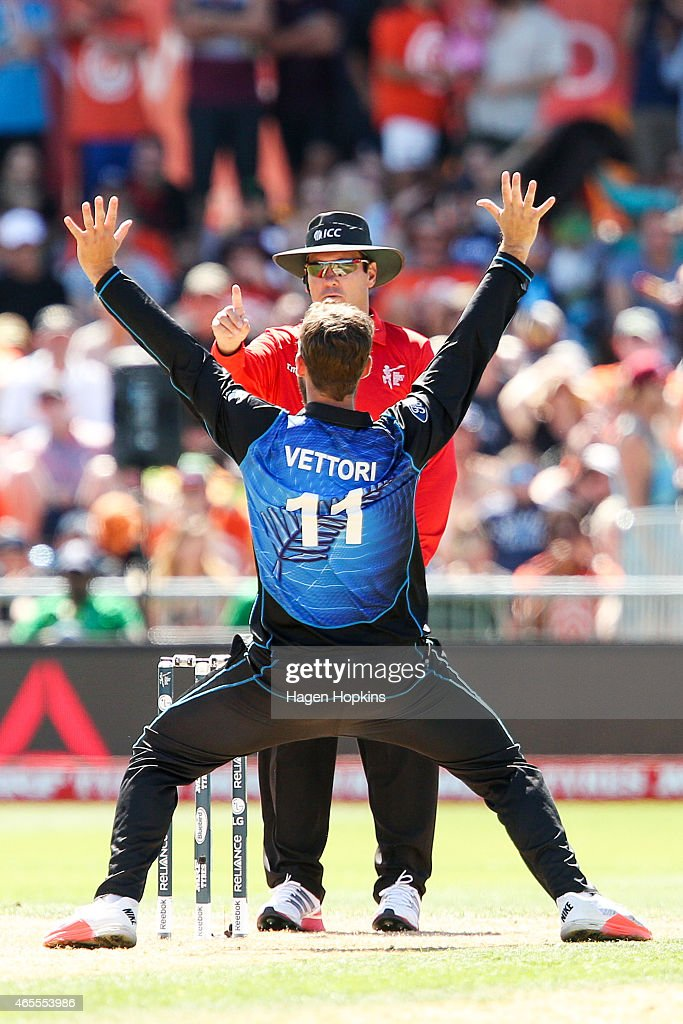 Daniel Vettori of New Zealand appeals successfully to umpire Johan Cloete of South Africa for the wicket of Afsar Zazai of Afghanistan during the 2015 ICC Cricket World Cup match between New Zealand and Afghanistan at McLean Park on March 8, 2015 in Napier, New Zealand.