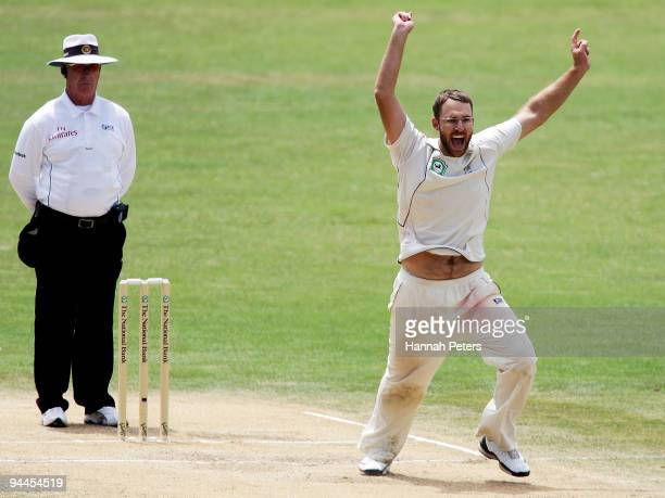 Daniel Vettori of New Zealand celebrates the stumping of Misbah Ul Haq of Pakistan during day five of the Third Test match between New Zealand and...
