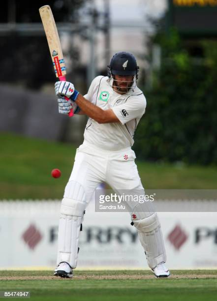 Daniel Vettori of New Zealand in action during day one of the First Test match between New Zealand and India at Seddon Park on March 18 2009 in...