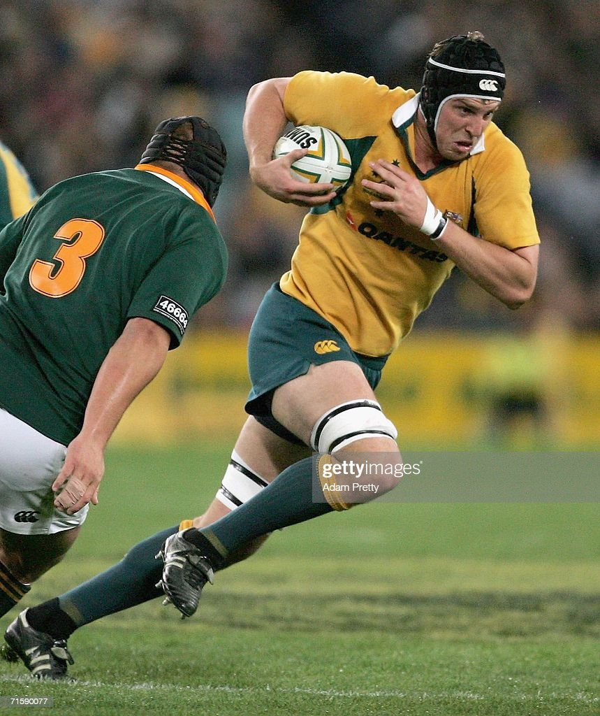 Daniel Vickerman of the Wallabies runs during the Tri Nations series second Mandela plate match between Australia and South Africa at Telstra Stadium August 5, 2006 in Sydney, Australia.