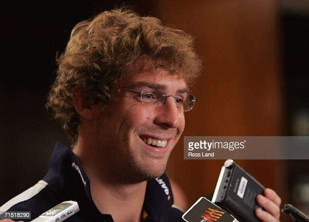 Daniel Vickerman of the Wallabies talks to the press at a media session at the team hotel on July 26 2006 in Brisbane Australia New Zealand play the...