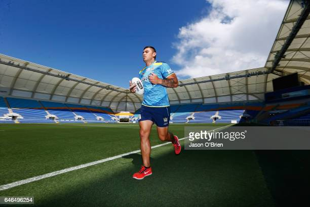Daniel Vidot during a Gold Coast Suns NRL training session at CBus Super Stadium on March 1 2017 in Gold Coast Australia