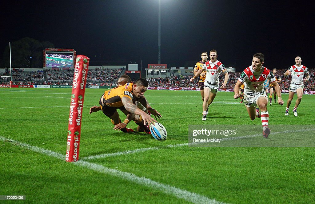 Daniel Vidot of the Broncos crops the ball over the try line during the round seven NRL match between the St George Illawarra Dragons and the Brisbane Broncos at WIN Jubilee Stadium on April 17, 2015 in Sydney, Australia.