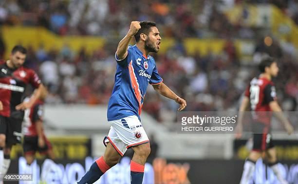 Daniel Villalva of Veracruz celebrates after score during their Mexican Apertura2015 tournament football match against Atlas at Jalisco stadium in...