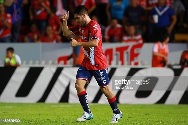 Daniel Villalva of Veracruz celebrates after scoring the second goal of his team during a 7th round match between Veracruz and Monterrey as part of...