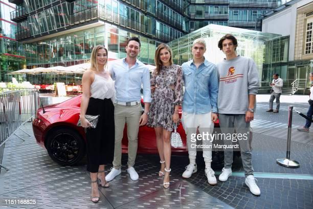 Daniel Völz, partner Lisa, Paulina Swarovski, Elias Becker and Jeremy attend the Mazda Spring Cocktail at Sony Centre on May 23, 2019 in Berlin,...