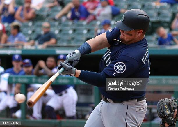 Daniel Vogelbach of the Seattle Mariners hits a single in the eighth inning against the Texas Rangers at Globe Life Park in Arlington on September...