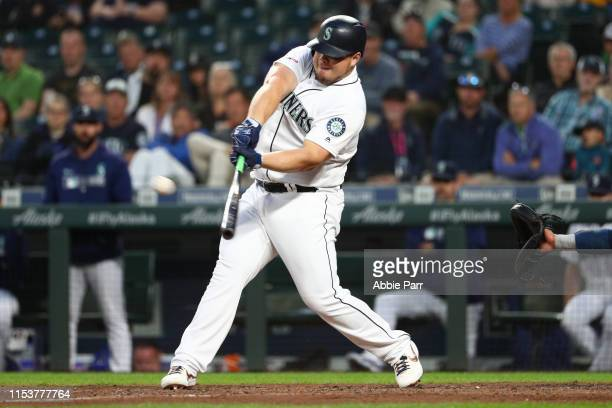 Daniel Vogelbach of the Seattle Mariners hits a three run double against the Houston Astros in the sixth inning to take a 54 lead during their game...