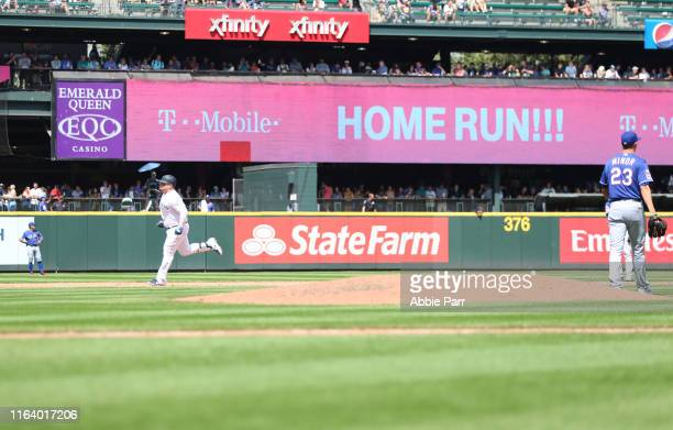 Daniel Vogelbach of the Seattle Mariners laps the bases in the sixth inning after hitting his second solo home run of the day against the Texas...