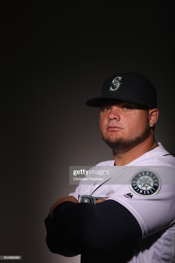 Daniel Vogelbach #20 of the Seattle Mariners poses for a portrait during photo day at Peoria Stadium on February 21, 2018 in Peoria, Arizona.