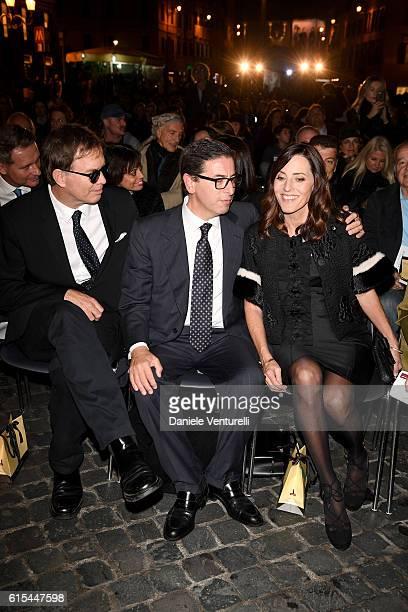 Daniel Voll Antonio Monda and Cecilia Peck attend 'Red Carpet In Via Condotti' on October 18 2016 in Rome Italy