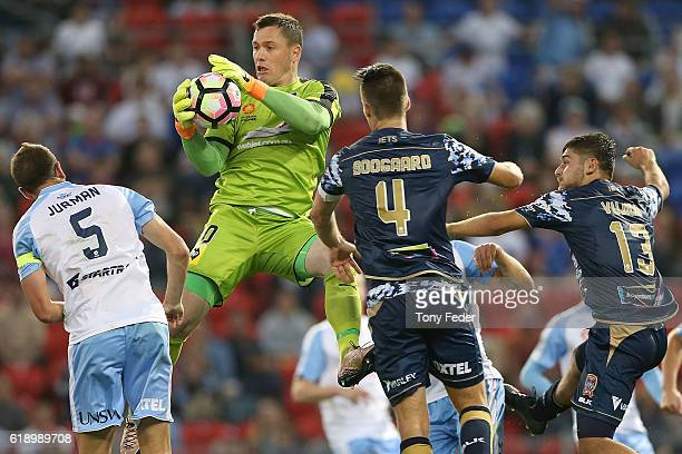 Daniel Vukovic of Sydney FC catches the ball during the round four ALeague match between the Newcastle jets and Sydney FC at McDonald Jones Stadium...