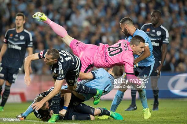 Daniel Vukovic of Sydney FC injures teammate Alexander Wilkinson during the 2017 ALeague Grand Final match between Sydney FC and the Melbourne...