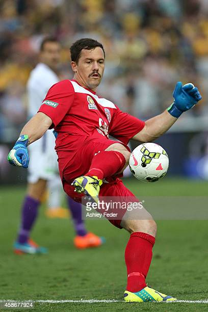 Daniel Vukovic of the Glory kicks the ball during the round five ALeague match between the Central Coast Mariners and the Perth Glory at Central...