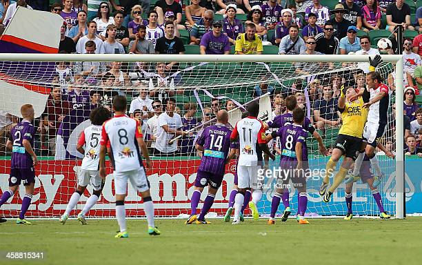 Daniel Vukovic of the Glory saves a shot on goal during the round 11 ALeague match between Perth Glory and Adelaide United at nib Stadium on December...