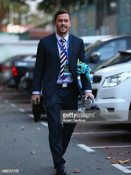 Daniel Vukovic of the Perth Glory arrives prior to the round 25 ALeague match between the Perth Glory and Sydney FC at nib Stadium on April 10 2015...