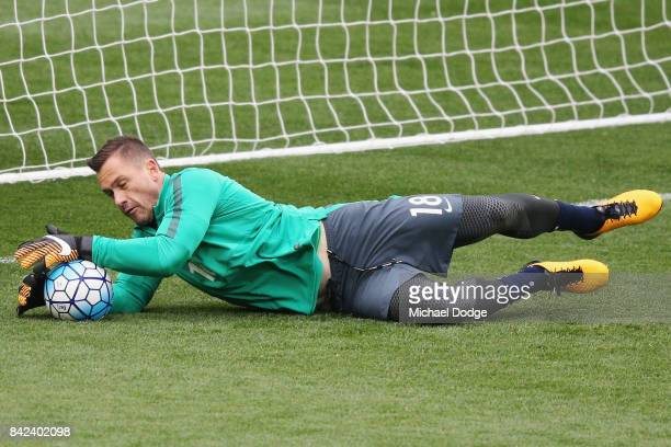 Daniel Vukovic of the Socceroos catches the ball during an Australian Socceroos training session at AAMI Park on September 4 2017 in Melbourne...