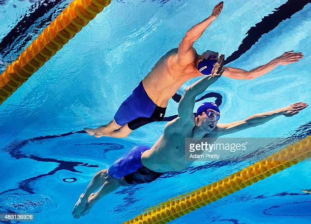 Daniel Wallace of Great Britain competes in the Men's 200m Individual Medley Semi-Finals on day twelve of the 16th FINA World Championships at the...