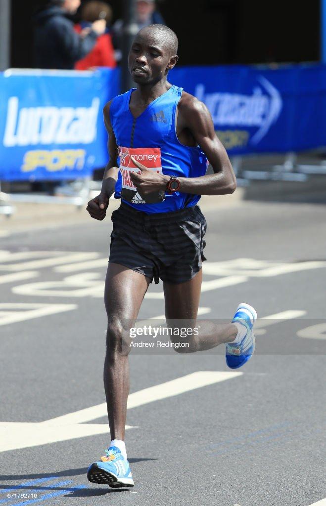 Daniel Wanjiru of Kenya competes during the Virgin Money London Marathon on April 23, 2017 in London, England.