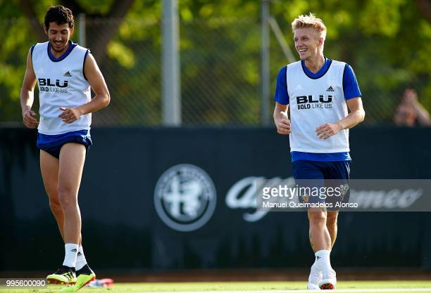 Daniel Wass and Daniel Parejo of Valencia CF during training session at Paterna Training Centre on July 10 2018 in Valencia Spain
