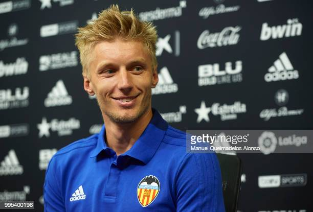 Daniel Wass faces the media during his presentation as a new player for Valencia CF at Paterna Training Centre on July 10 2018 in Valencia Spain