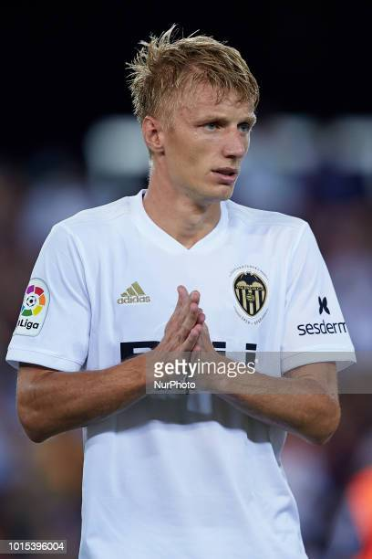 Daniel Wass looks on during the PreSeason Friendly match between Valencia CF and Bayer 04 Leverkusen at Mestalla on August 11 2018 in Valencia Spain