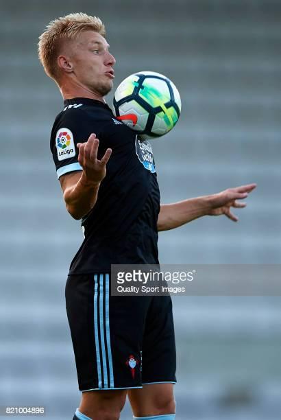 Daniel Wass of Celta de Vigo controls the ball during the preseason friendly match between Celta de Vigo and Racing de Ferrol at A Malata Stadium on...