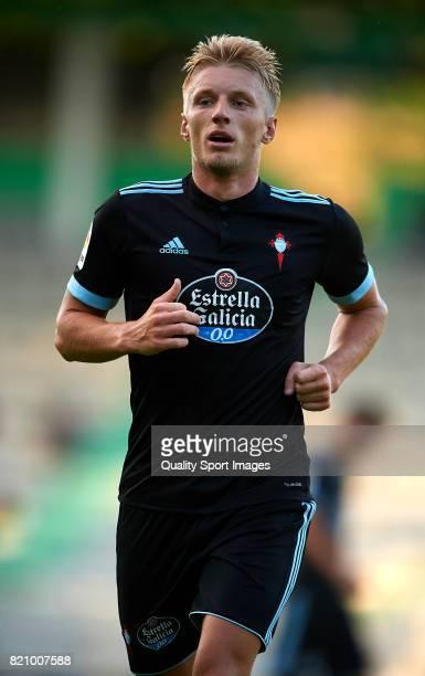 Daniel Wass of Celta de Vigo looks on during the preseason friendly match between Celta de Vigo and Racing de Ferrol at A Malata Stadium on July 22...