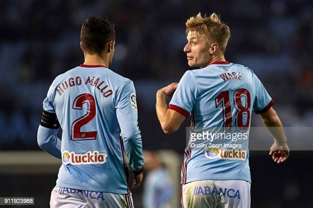 Daniel Wass of Celta de Vigo talks with Hugo Mallo of Celta de Vigo during the La Liga match between Celta de Vigo and Real Betis at Balaidos Stadium...