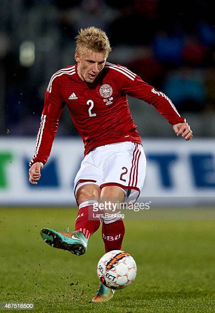 Daniel Wass of Denmark controls the ball during the International Friendly match between Denmark and Unites States at NRGi Park on March 25 2015 in...
