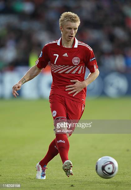 Daniel Wass of Denmark in action during the UEFA European Under21 Championship Group A match between Denmark and Belarus at the Aarhus stadium on on...