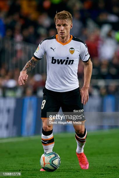 Daniel Wass of Valencia CF in action during the Liga match between Valencia CF and Club Atletico de Madrid at Estadio Mestalla on February 14 2020 in...