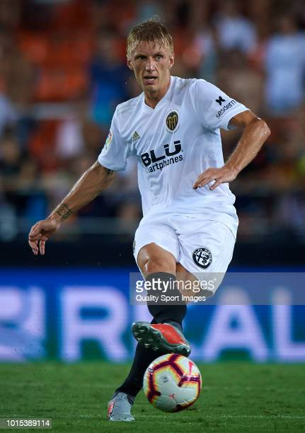 Daniel Wass of Valencia in action during the preseason friendly match between Valencia CF and Bayer Leverkusen at Estadio Mestalla on August 11 2018...