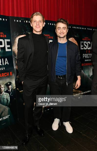 """Daniel Webber and Daniel Radcliffe attend the gala screening of """"Escape From Pretoria"""" at the Curzon Soho on February 16, 2020 in London, England."""