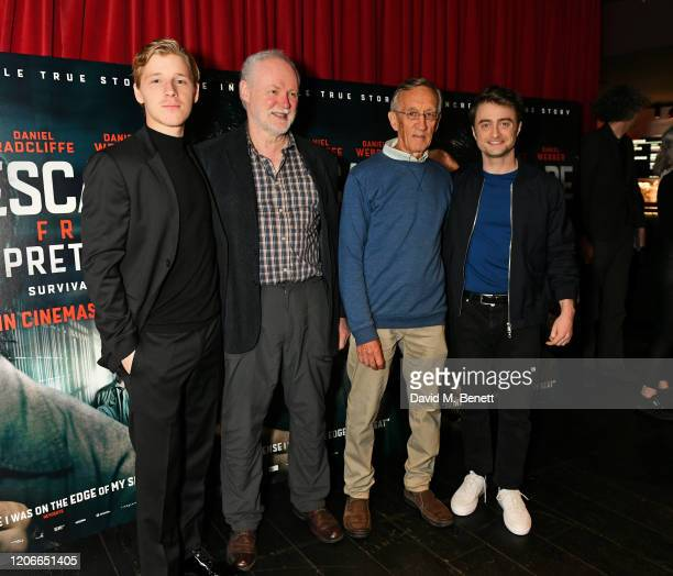 """Daniel Webber, Stephen Lee, Tim Jenkin and Daniel Radcliffe attend the gala screening of """"Escape From Pretoria"""" at the Curzon Soho on February 16,..."""