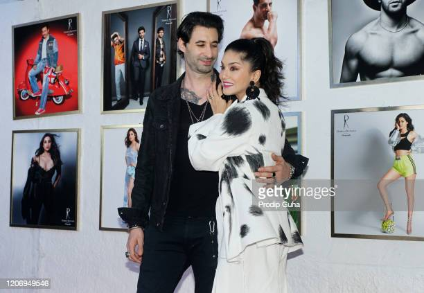 Daniel Weber and Sunny Leone attend the 21st limited-edition 2020 Dabboo Ratnani's Calendar on February 17, 2020 in Mumbai, India