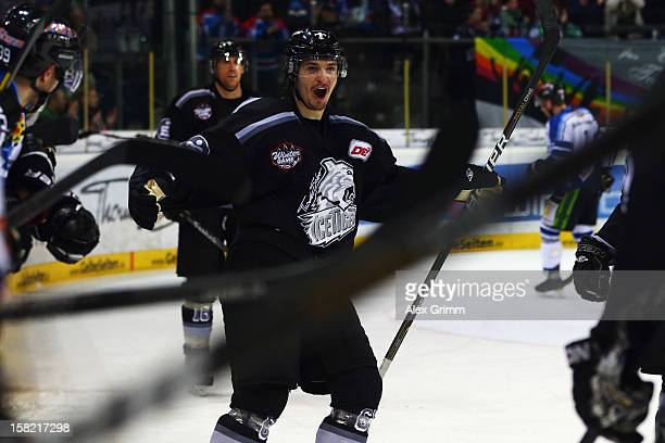 Daniel Weiss of Ice Tigers celebrates his team's fourth goal during the DEL match between Thomas Sabo Ice Tigers and Straubing Tigers at Arena...
