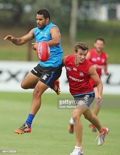Daniel Wells and Kayne Turner of the Kangaroos compete for the ball during a North Melbourne Kangaroos AFL media session at NMFC on February 26 2015...