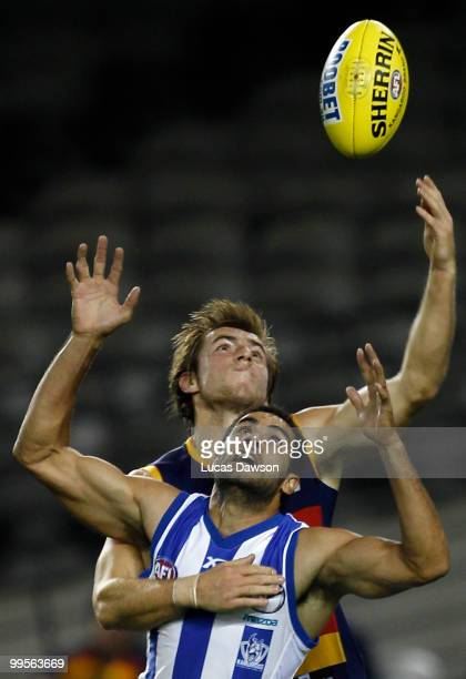 Daniel Wells of the Kangaroos attempts a mark during the round eight AFL match between the North Melbourne Kangaroos and the Adelaide Crows at Etihad...