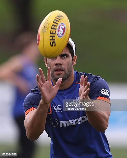 Daniel Wells of the Kangaroos takes the ball during a North Melbourne Kangaroos AFL training session at Arden Street Ground on May 18 2016 in...