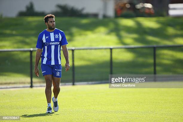 Daniel Wells of the Kangaroos walks during a North Melbourne Kangaroos AFL training session at Arden Street Ground on May 14, 2014 in Melbourne,...
