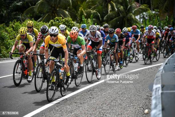 Daniel Whitehouse of England and CCN Cycling Team Laos leads the peloton during stage 6 of the Tour de Singkarak 2017 Pariaman CityPasaman Barat 1457...