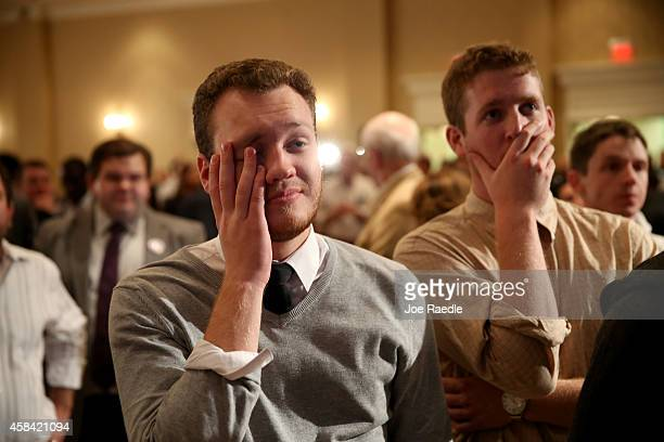 Daniel Whitely and Evan Seekins attend the election night party for former Florida Governor and Democratic gubernatorial candidate Charlie Crist as a...