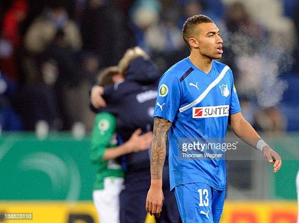 Daniel Williams of Hoffenheim looks dejected after loosing the DFB Cup Quarter Final match between TSG 1899 Hoffenheim and SpVgg Greuther Fuerth at...