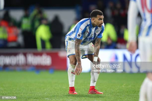 Daniel Williams of Huddersfield Town dejected at full time during the Premier League match between Huddersfield Town and Manchester City at John...