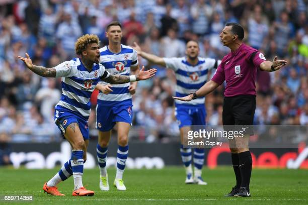 Daniel Williams of Reading appeals to Referee Neil Swarbrick during the Sky Bet Championship play off final between Huddersfield and Reading at...