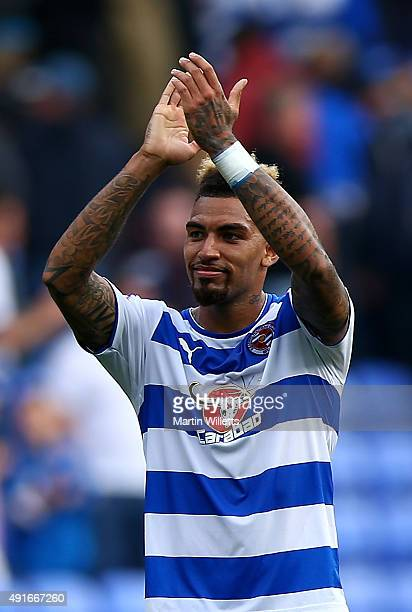 Daniel Williams of Reading celebrates after the Sky Bet Championship match between Reading and Middlesbrough at Madejski Stadium on October 3 2015 in...